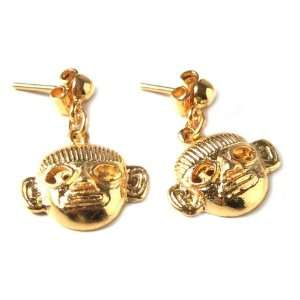 Gold plated dangle earrings, Inca Warrior Jewelry
