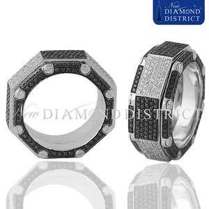 18K GOLD 3.94CT BLACK & WHITE DIAMOND OCTAGON SHAPE SPINNING BAND RING