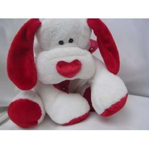 Valentine Dog Plush Toy with Red Heart Nose ; 10 Collectible Puppy