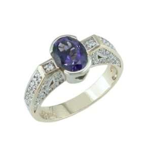 Ardena   size 11.25 14K Yellow Gold Iolite & Diamond Ring Jewelry