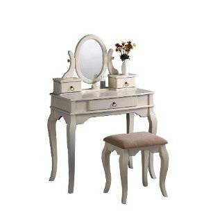 New White / Ivory Jewelry Chest and Make up Vanity Set w/ Mirror and