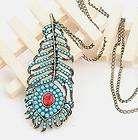 Luxury Blue Feather Pendant Retro Long Necklace P207
