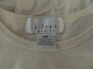 Jill Petite Off White Crew Neck Long Sleeve Tee MP EUC