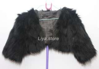 new womens real black fox fur fashion short coat jacket bolero for