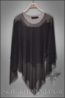 SC084 Black Punk Rock Skull Batwing Cloak Tops Gothic