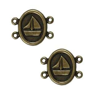Antiqued Brass Plated 4 Loop Connector Oval With Boat 14mm
