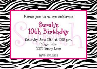 ZEBRA PRINT BIRTHDAY INVITATIONS, ANY COLOR(S)