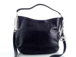 MICHAEL KORS Julian Medium Black Leather Shoulder Handbag MSRP $278