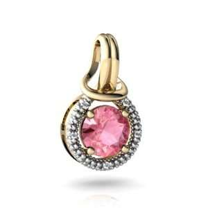 14K Yellow Gold Round Created Pink Sapphire Love Knot Pendant Jewelry