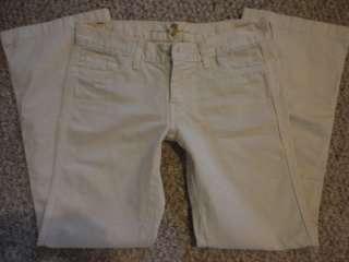 For All Mankind Low Rise Boot Cut Khaki Tan Pants/Jeans 28 x 29 GUC