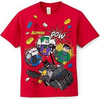 BATMAN LEGO Short Sleeve Shirt Size 8 10 12 14 16 18 20 RED
