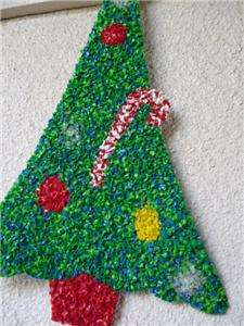 Plastic CHRISTMAS TREE Wall Decoration Retro Tacky Kitschy Plastic