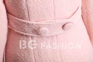 Fashion Korea Womens Winter Button Quality Mid length Coat Jacket