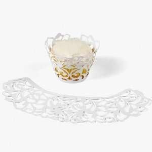 Laser Cut Cupcake Collars   White (24 Pc)