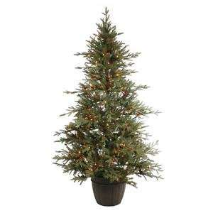 Pine Potted 300 Multi Color Lights with Cones and Berries Christmas