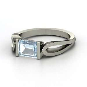 Loop de Loop Ring, Emerald Cut Aquamarine 14K White Gold