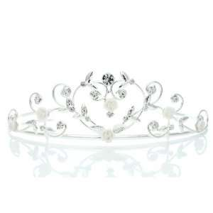 Princess Rhinestones Crystal Porcelain Rose Flower Wedding Crown Tiara