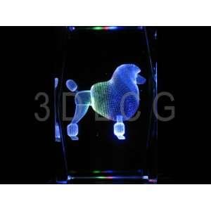 Poodle Dog 3D Laser Etched Crystal