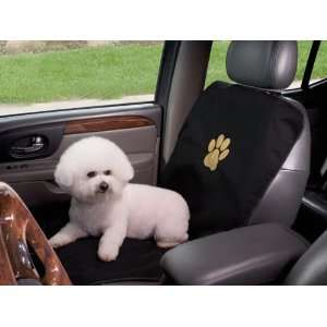 Black & Gold Dog Pawprint Single Car Seat Cover Black/Gold Pet