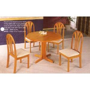 Finish Solid Wood Round Dining Table & Chairs Set Furniture & Decor