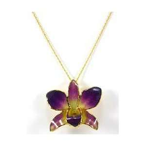 REAL FLOWER Gold Orchid Necklace Pendant Purple Yellow Jewelry