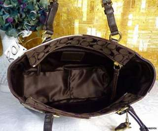 NWT COACH BROWN SIGNATURE PATCHWORK GOLD LEATHER LARGE TOTE BAG