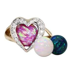 Interchangeable Opal & 1/4 Carat Diamond Heart Ring 14K