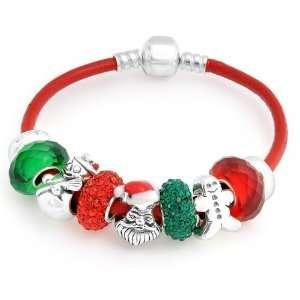Santas Christmas Red Leather Charms Bracelet Pandora Style Jewelry