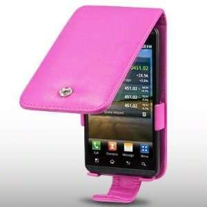 LG OPTIMUS 3D P920 SOFT PU LEATHER FLIP CASE HOT PINK BY