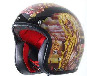 Rockhard Iron Maiden Vintage Harley Open Face Motorcycle Street Bike