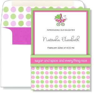 Girl Baby Shower Invitations   Pink & Green Dotted Pram