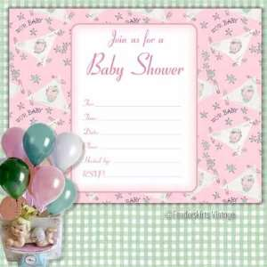 Vintage Baby Girl Bootie Shower Invitations Baby