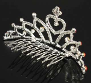 /Wedding Princess Pink Swarovski Crystal Heart Tiara Crown Small Hair