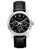 Bulova Watch, Mens Black Leather Strap 40mm 96C111