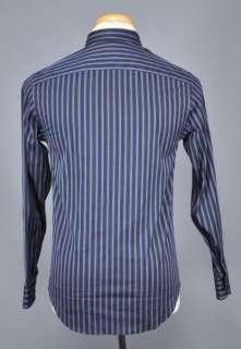 Authentic $265 Armani Collezioni Casual Dark Blue Striped Shirt US L