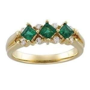 Gold Genuine Emerald & Diamond Anniversary Band Ring