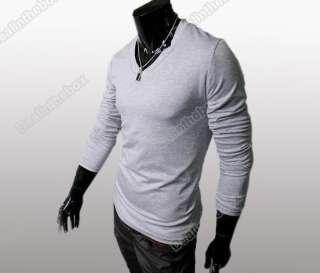 Fit Long Sleeve Casual Base T shirt V Neck Cotton T shirts Basic Tee