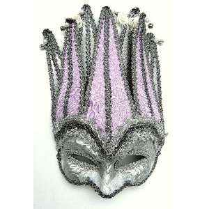 Mardi Gras Half Face Mask in Pale Lavender, Court Jester