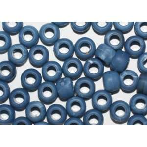 DENIM BLUE MATTE FROSTED CROW BEADS PONY BEADS: Arts