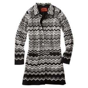 MISSONI For Target Zig Zag Chevron Black White Knit Sweater Coat