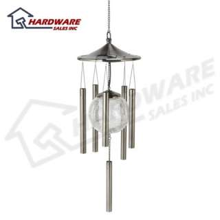Sunergy Solar Powered Color Changing Glass Ball Wind Chime Pewter