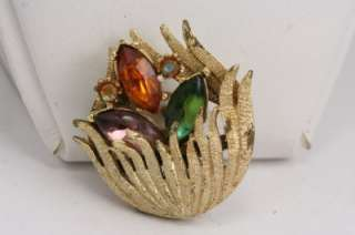 Vintage Costume Jewelry Rhinestone Floral Gold Brooch