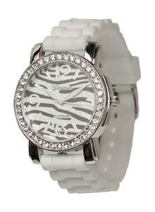 ZEBRA SILICONE RUBBER JELLY WATCH with CRYSTALS Large Face