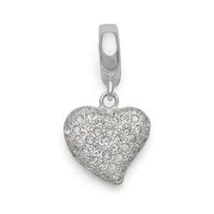 Pave Heart Charm, Sterling Silver Jewelry