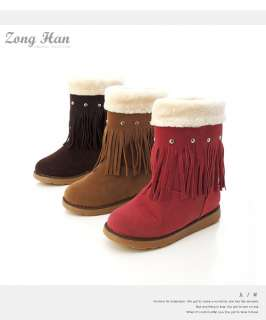 Classic Faux Suede Fringe Tassle Boots in Rose Pink,Brown & Chocolate