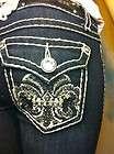 Size 19 LA Idol Distressed Blue Jeans w/Fleur De Lis Bling Pockets