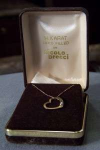 ANTIQUE 14 K GOLD FILL DIAMOND HEART PENDANT NECKLACE