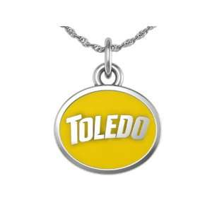 University of Toledo Rockets Charm Pendant. Solid Sterling Silver with