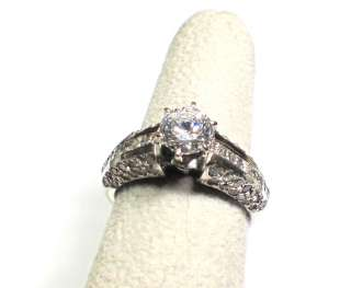 14k White Gold Engagement Ring Princess Round Cut Diamonds Accent 7