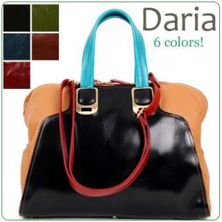 KOREA]Genuine leather color block DARIA satchel, shoulder bag, handbag
